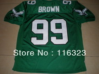 Football Jerseys 1990 Jerome Brown #99 Green  Mesh Throwback Sports Jersey  Size:48~56+Mix Order,Free Shipping