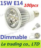 100pcs/lot Hot selling Dimmable E14 5X3W 15W Spotlight Lamp Led Light 85V-265V Led Bulbs Free shipping