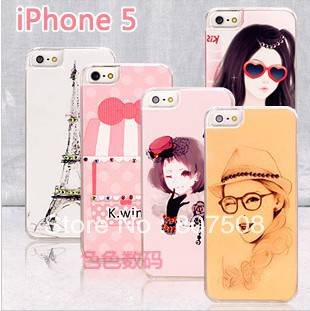 Fashion cartoon pattern Plastic Rhinestone case for iphone 5 30 different design 30pcs per lot free shipping(China (Mainland))