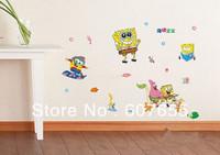 Hot Sell! SIZE 50*70cm Sponge Bob Vinyl Wall Decal Sticker DIY Home Decor Wholesales1307 ,1PCS DROPSHIPPING wall sticker