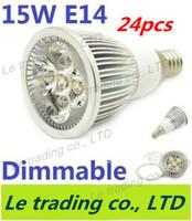 24pcs/lot Hot selling Dimmable E14 5X3W 15W Spotlight Lamp Led Light 85V-265V Led Bulbs Free shipping