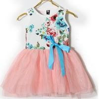 4 pcs/lot 2013 Best Selling Children Kids Princess Dresses  Summer Wear With Flower fashion designer XF7009