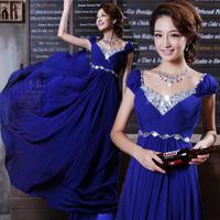 Long design double-shoulder red bridal evening dress 2013 wedding diamond evening dress