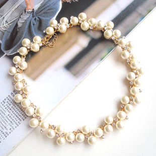 Bridal jewelry yeh female elegant luxury pearl rhinestone chain short necklace