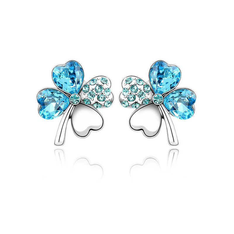 Accessories delicate full rhinestone lucky four leaf clover crystal stud earring earrings female birthday gift(China (Mainland))