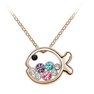 2012 crystal necklace dollarfish female princess gift jewelry