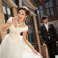 New arrival 2013 slit neckline sweet princess brief bag the bride wedding dress