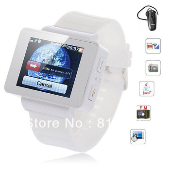 Free shipping Cheap i5 Touch Screen Watch Phone Quad Band Single SIM with Java FM/MP3/MP4/Bluetooth function  (White)