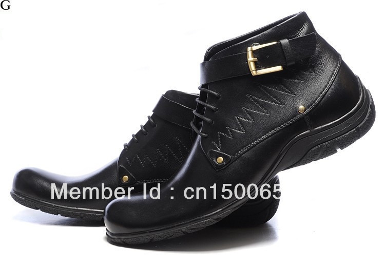 Brand name men leather shoes fashion winter boot size:41-46(China (Mainland))