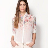 New Free Shipping  Flower Prnit Women Summer Long Sleeve Chiffon Top Shirt Blouse S/M/L 651906