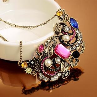 4079 necklace vintage multi-element gem necklace buyers show free shipping(China (Mainland))