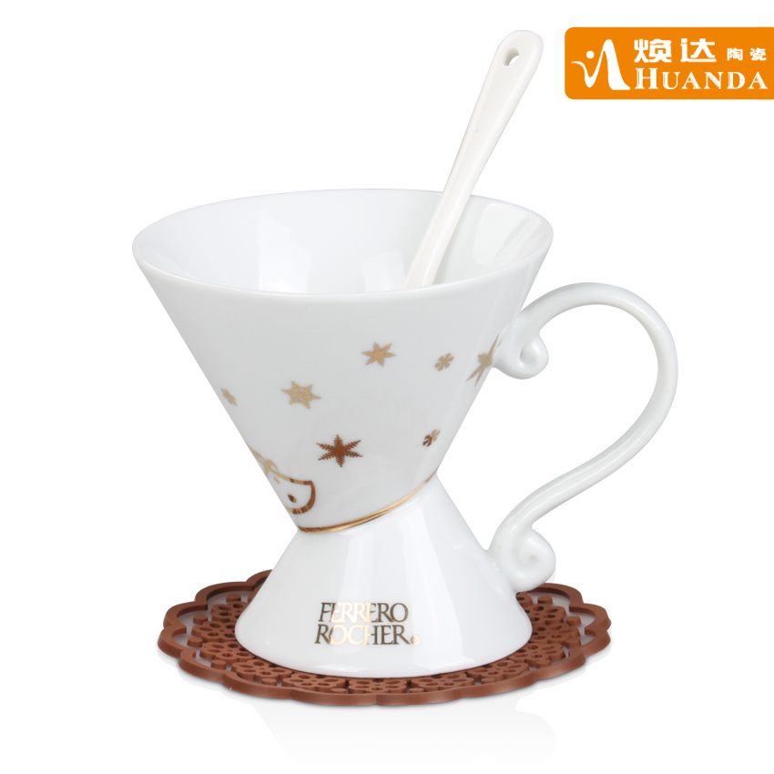 Fashion ceramic Christmas coffee cup set spoonfuls belt jottings creative coffee cups(China (Mainland))
