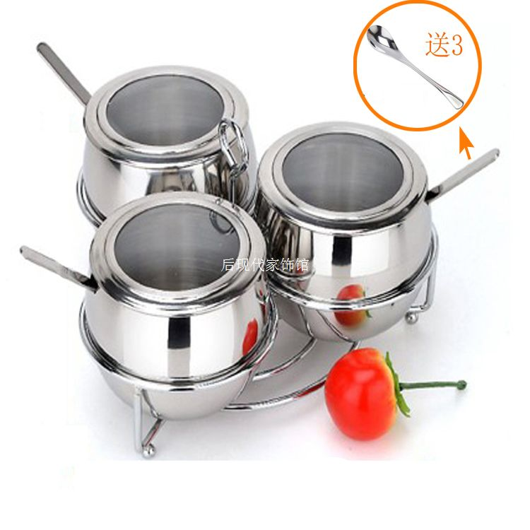 - stainless steel spice jar bottle set seasoning box sugar salt tank sauce pot 3 stainless steel spoon(China (Mainland))