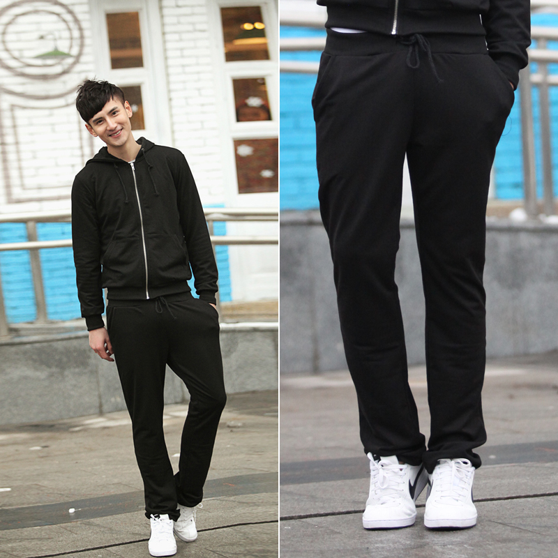 828 y01-2p35 real pictures model with fashion style black sports trousers 4(China (Mainland))