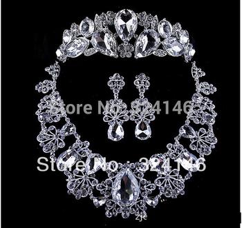 Free shipping Silver bridal jewelry set luxurious rhinestone wedding jewelry wholesale