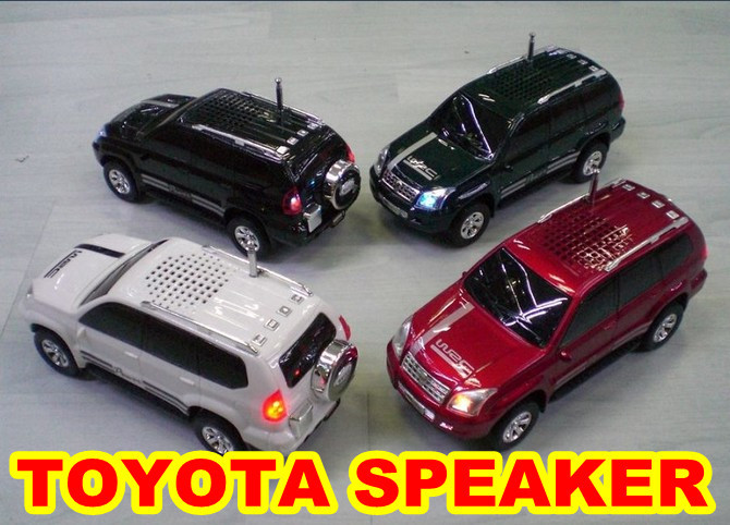 Mini TOYOTA cross-country Car Music Mp3 Speaker for PC/ Phone Support Micro SD TF Card/USB Stick/FM 30PCS Free DHL shipping(China (Mainland))