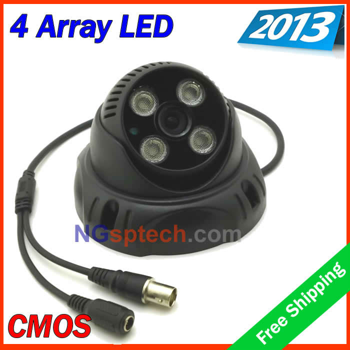 free shipping whole sale ! the newest 2013 security 4 pcs Array LED cctv dome camera, IR 20-35m(China (Mainland))