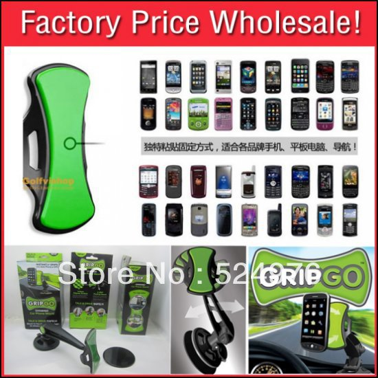 Free Shipping High Quality Gripgo Grip Go car holder Mobile Phone Holder for phone/GPS As Seen On TV COLOR BOX PACKING FOR GIFT(China (Mainland))