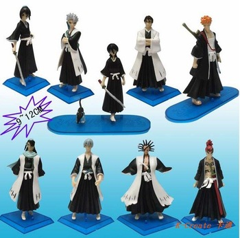 Wholesale 9pcs Japana anime Bleach pvc action figure toys tall 12cm set.Free shipping 9pcs/set Bleach figure toy.