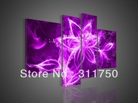4 Piece Wall Art Modern Abstract Fresh Look Color Fire Flower Purple Oil Painting On Canvas Paintings Modern Set Pictures Decor