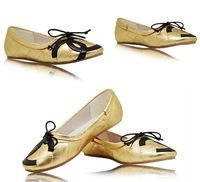 2013 new Europe and the United States leisure comfortable sheepskin bowknot lady flat shoes  2color free shipping