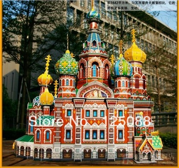Free shipping DIY 3D paper model The Church  of the Savior on Spilled Blood  Russia cubic puzzles toy educational toys MC148h