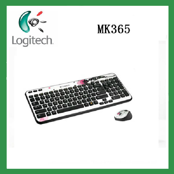 New arrival Original Genuine Logitech mk365 usb wireless computer combo mouse and keyboard set white color back with flower(China (Mainland))