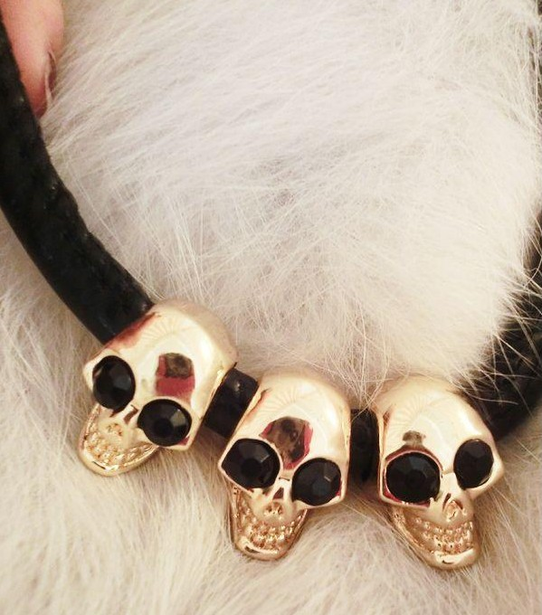 Fashion vintage accessories faux leather skull decoration short design necklace chain female(China (Mainland))