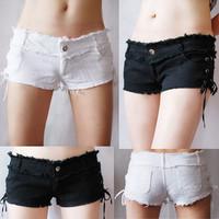 2012 100% cotton elastic repair the water wash placketing slim hip sexy low-waist shorts