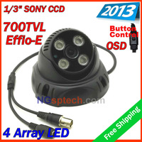 "Big promotion !2013security cctv 1/3"" Sony 700TVL effio-e osd IR color dome camera,  4pcs  Array IR LED IR 30m free shipping"
