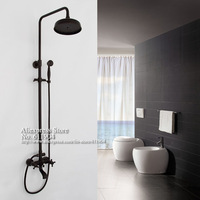 Oil Rubbed Bronze Wall Mounted Dual Handles Shower Faucet Set Mixer Tap Rain Fall Shower Head 1A11002B