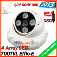 Big promotion !2013security cctv Sony 700TVL IR color dome camera,  4pcs  Array IR LED IR 30m free shipping