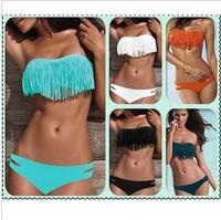 2014  Fashion Sexy  tassel hot springs bikini female swimwear bikini big small push up swimwear  free shipping