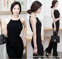Free shipping 2014 Summer Elegant Slim Casual Fashion Luxury Big Pearl Collar Women Romper long Jumpsuit Lady Pants S/M/L/XL