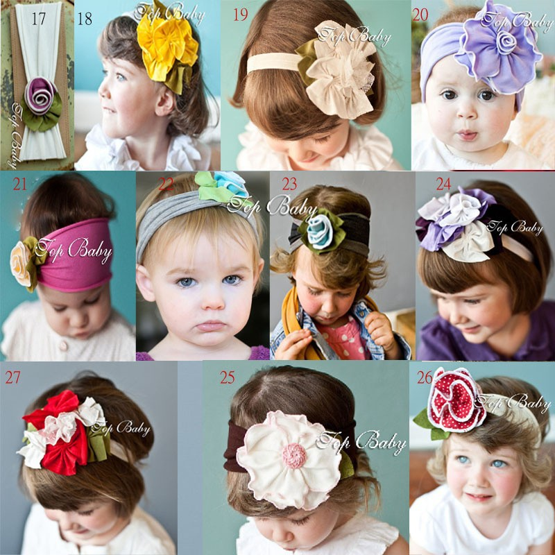 wholesale new fashion 10pcs/lot Cute western style Baby girl flower baby headdress and headhand infant cotton(China (Mainland))