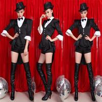 Female singer dance clothes color block jazz dance fashion tuxedo costumes performance ds costume wear