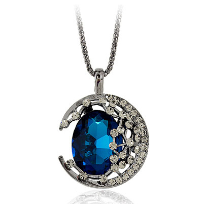 Sunshine jewery store vintage sapphire moonlight long necklace for women(China (Mainland))