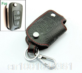 Leather Remote Case Flip Key Holder For Hyundai I20 I30 IX35 Protective Chain 3B