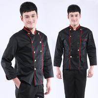 [10pcs/free ship] black cook suit cook suit pastry clothes work wear  Italian Restaurant  uniforms chef top [top only]