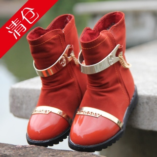 2012 child snow boots waterproof male female child boots children shoes cotton-padded shoes medium-leg boots children boots(China (Mainland))