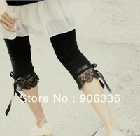 Free Shipping Wholesale Price 2013 New Women Ice Silk Pants with Lace Cute Bows Black  Elastic Skinny pants  for Ladies