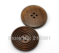 20PCs Free Shipping  Coffee Brown Color 4 Holes Striped Round  Wood Sewing Buttons Scrapbook 38mm A00636