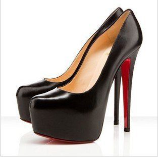 EMS free shipping women shoes,women dress shoes, high heel shoes,black red sole heels(China (Mainland))