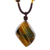 3 natural blue yellow tiger eye wood alexandrite pendant with shaped