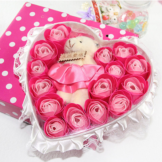 15 transparent pvc bear soap flower skirt gift box for birthday gift girls small gifts girlfriend gift(China (Mainland))