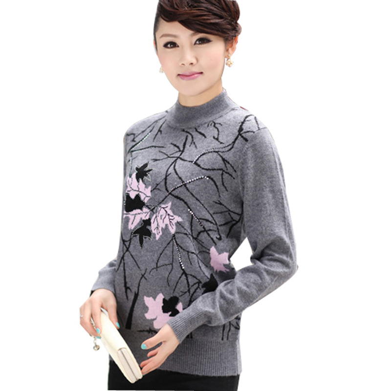 Hot-selling quality women&#39;s quinquagenarian o-neck sweater autumn and winter mother clothing turtleneck sweater(China (Mainland))