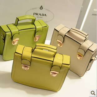 2013 double lock candy color handbag women&#39;s handbag shoulder bag messenger bag box(China (Mainland))