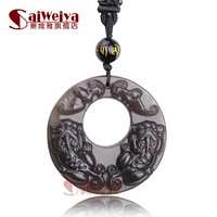 Natural ice species obsidian double pi xiu pendant necklace lucky circle peace buckle Men