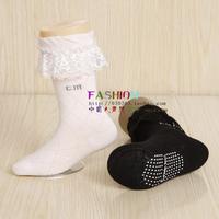 Plastic children socks boneless baby socks gaotong 100% cotton lace decoration princess socks a066