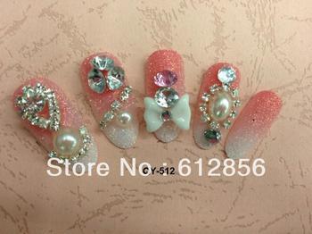 24 Pcs/set Fashion Delicate box Red Inlay crystal 3D False nails +Nails glue Gift